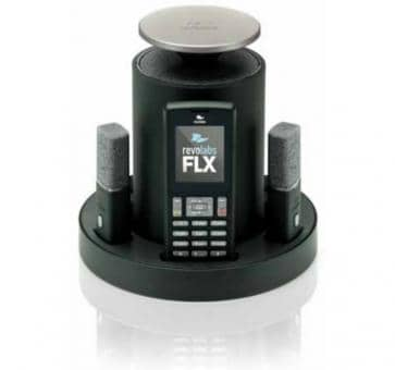 Revolabs FLX 2 VoIP conferencing system with 2 table microphones